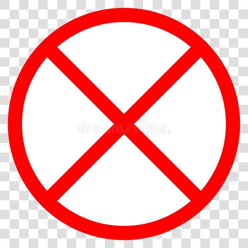 Sinal realístico da proibição da estrada do tráfego isolado em um fundo transparente branco Signage cruzado vermelho do ícone do  ilustração royalty free