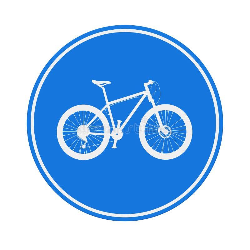 Sinal redondo azul da pista de bicicleta rendição 3d ilustração stock