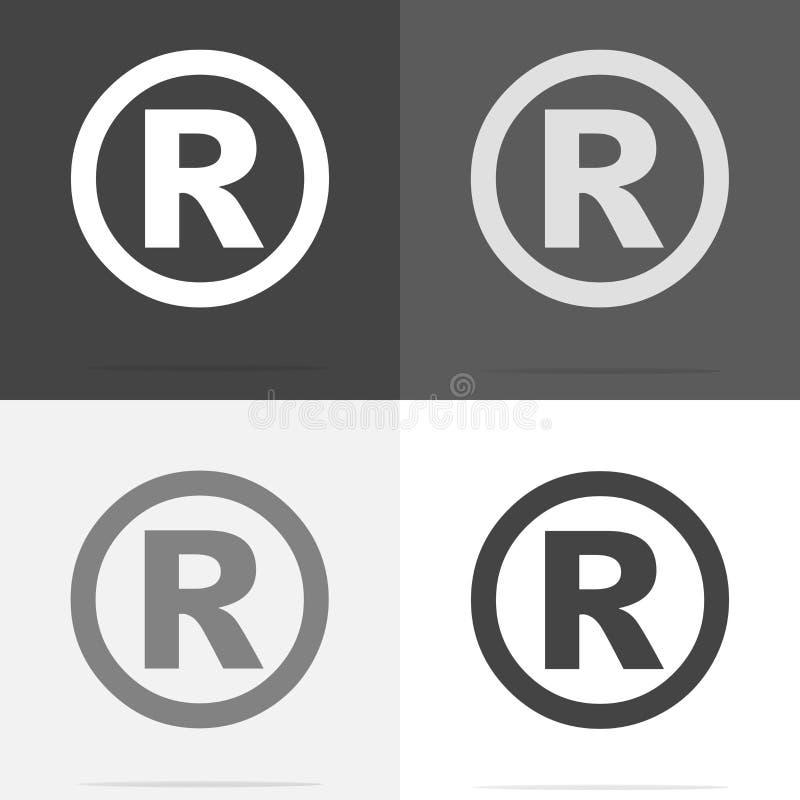 Sinal registrado ícone do vetor Grupo de ícone registrado do sinal no whi ilustração royalty free