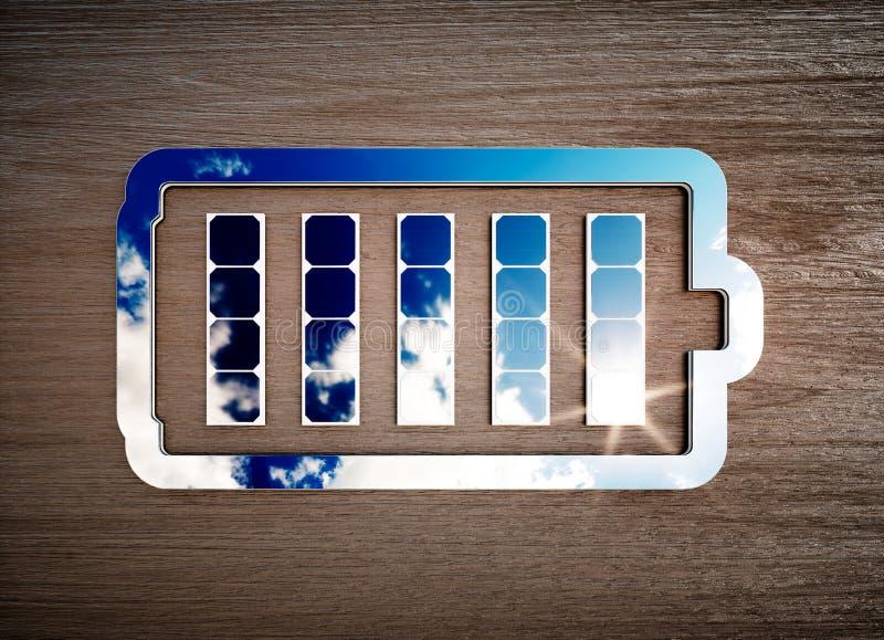 Sinal renovável do armazenamento de energia na mesa de madeira escura ilustração do vetor