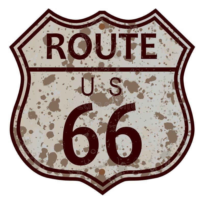 Sinal resistido de Route 66 ilustração stock