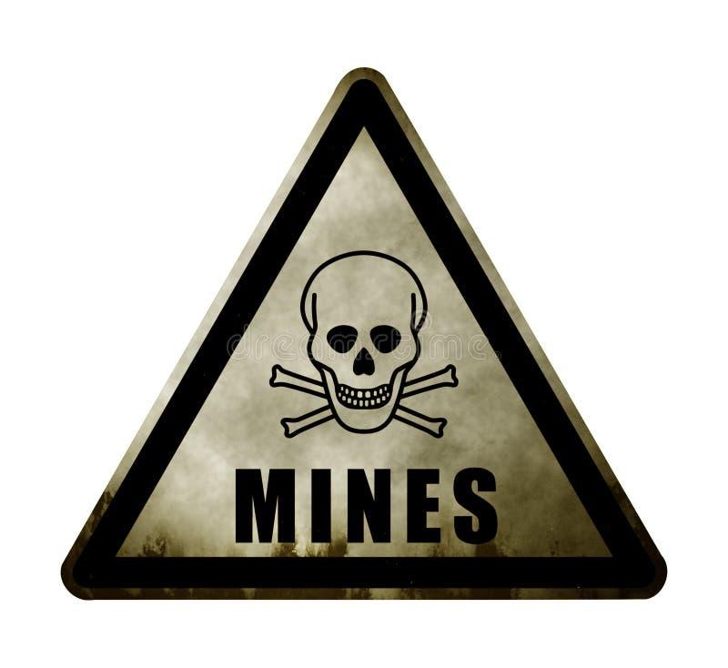 Sinal resistido do campo de minas do perigo ilustração do vetor