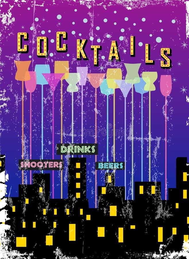 Sinal retro da barra do cocktail, vetor ilustração stock