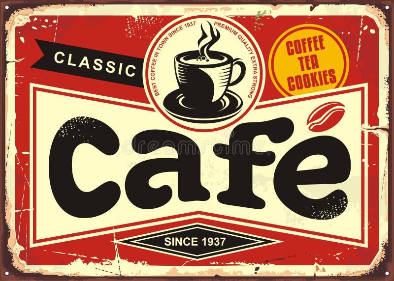 Sinal retro da lata da barra do café ilustração do vetor