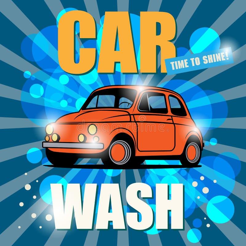 Sinal retro da lavagem de carros ilustração stock