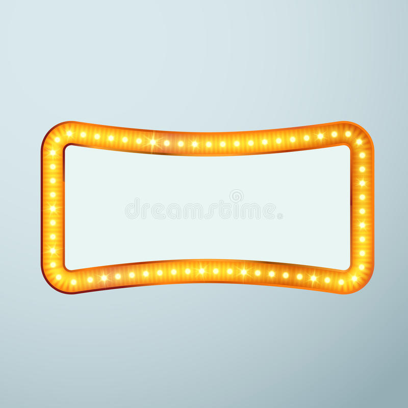 Sinal retro de brilho brilhante do quadro do bulbo do cinema ilustração royalty free