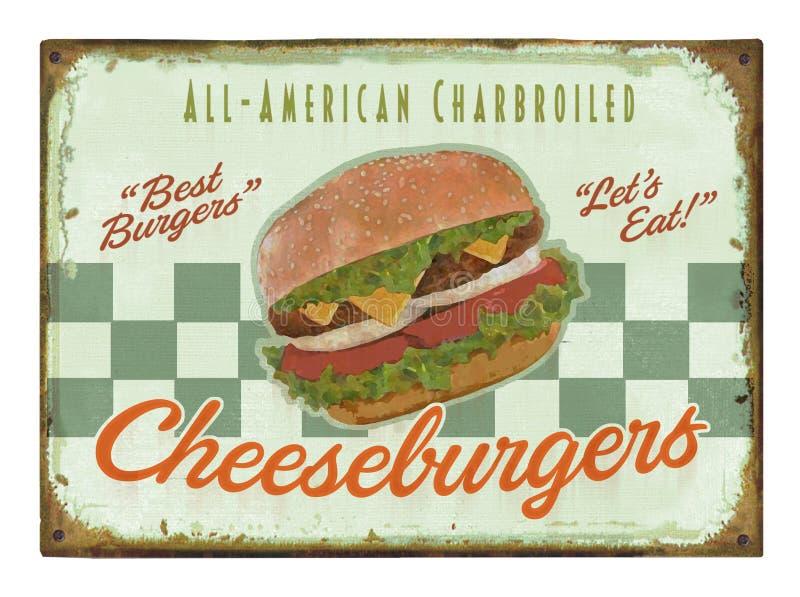 Sinal retro do cartaz do hamburguer ilustração do vetor