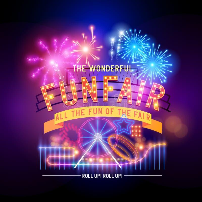 Sinal retro do circo do recinto de diversão ilustração royalty free