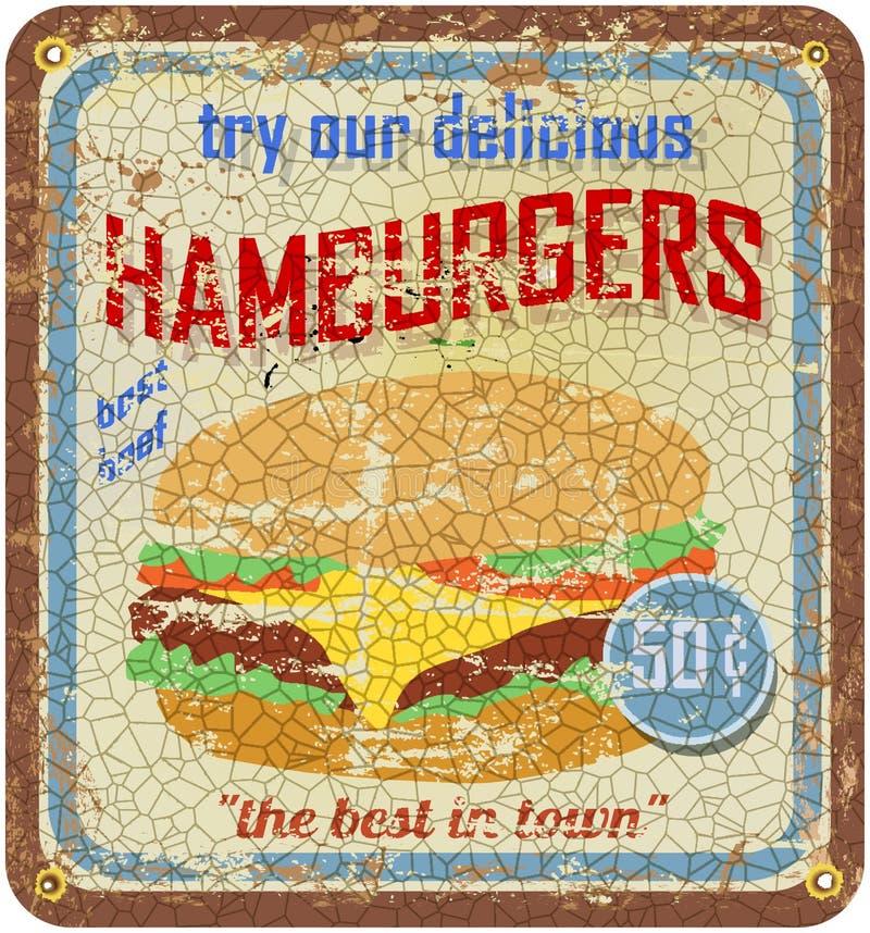 Sinal retro do Hamburger ilustração stock