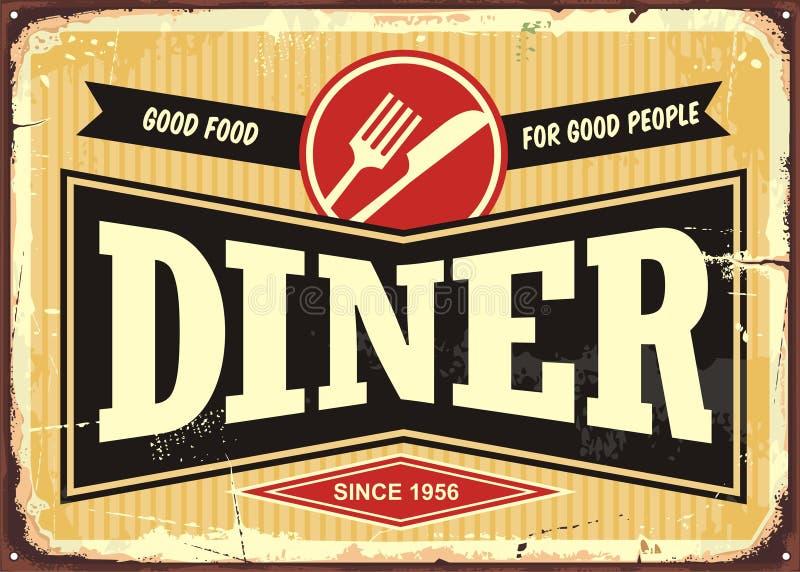 Sinal retro do jantar ilustração stock