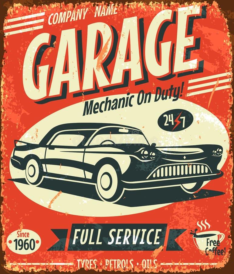 Sinal retro do serviço do carro do Grunge ilustração royalty free
