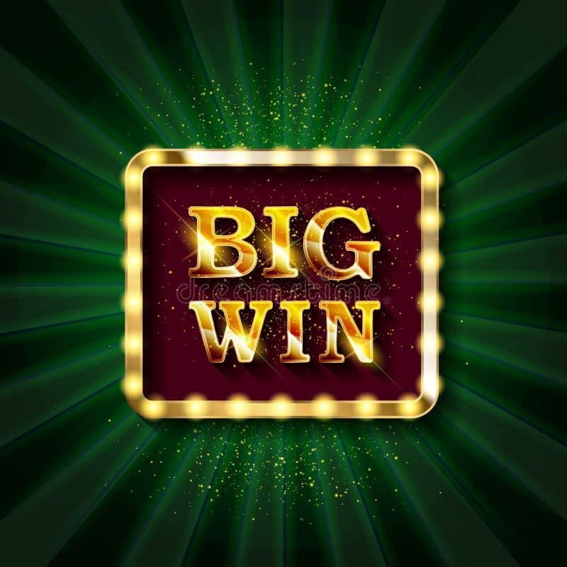 Sinal retrorreflector com a lâmpada Big Win ilustração royalty free