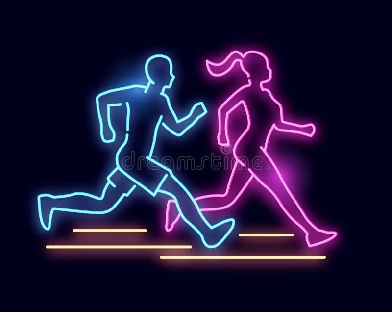 Sinal running dos povos da luz de néon ilustração do vetor