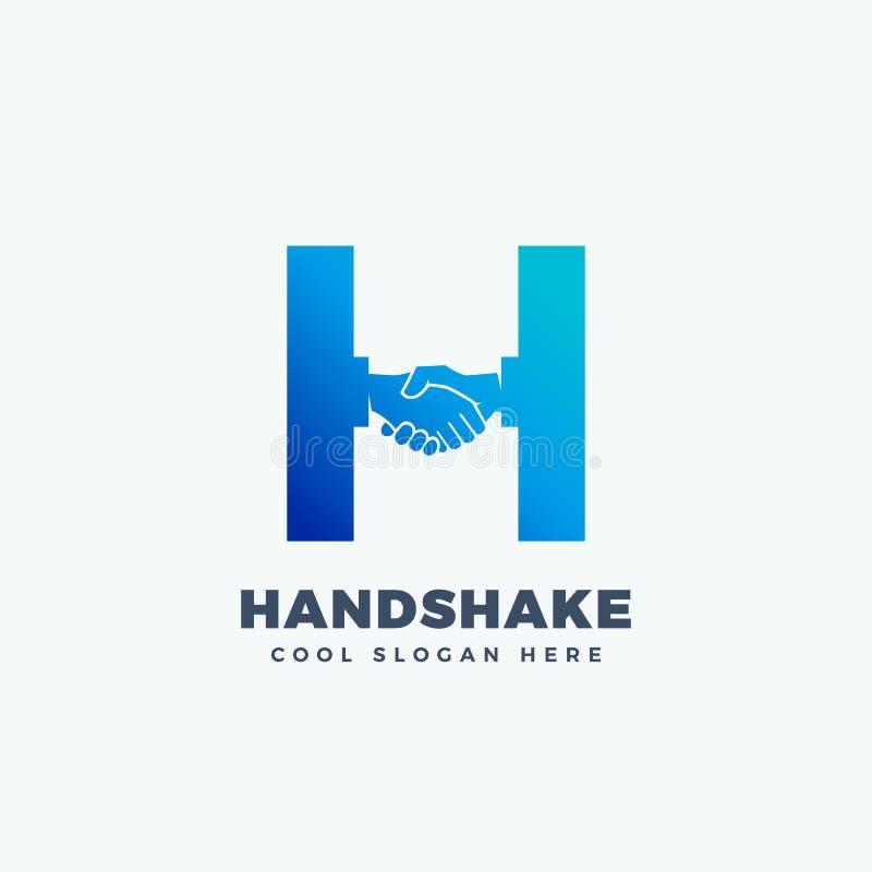 Sinal, símbolo ou Logo Template abstrato do vetor do aperto de mão Agitação da mão incorporada no conceito da letra H ilustração do vetor