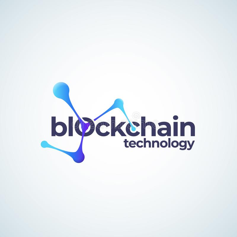 Sinal, símbolo ou Logo Template do vetor de Absrtract da tecnologia de Blockchain Ícone Chain conectado do inclinação das esferas ilustração do vetor