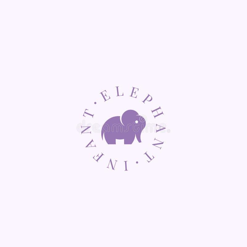 Sinal, símbolo ou Logo Template infantil do vetor do sumário do elefante Elefante pequeno elegante Sillhouette com tipografia ret ilustração royalty free