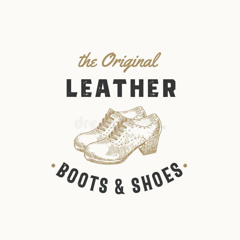 Sinal, símbolo ou Logo Template retro original do vetor das botas de couro Ilustração da sapata das mulheres e emblema da tipogra ilustração royalty free