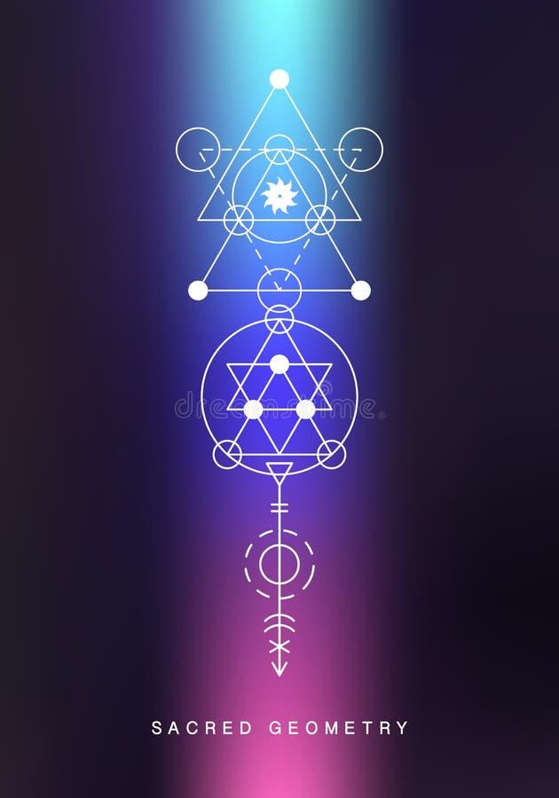 Sinal sagrado da geometria Arte linear da alquimia ilustração stock