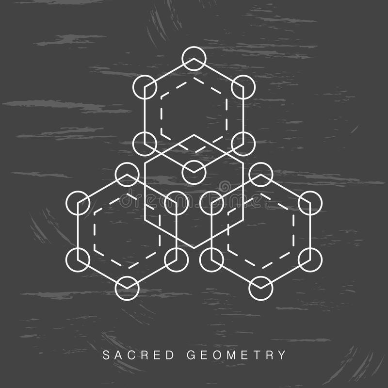 Sinal sagrado da geometria no fundo preto do grunge ilustração do vetor