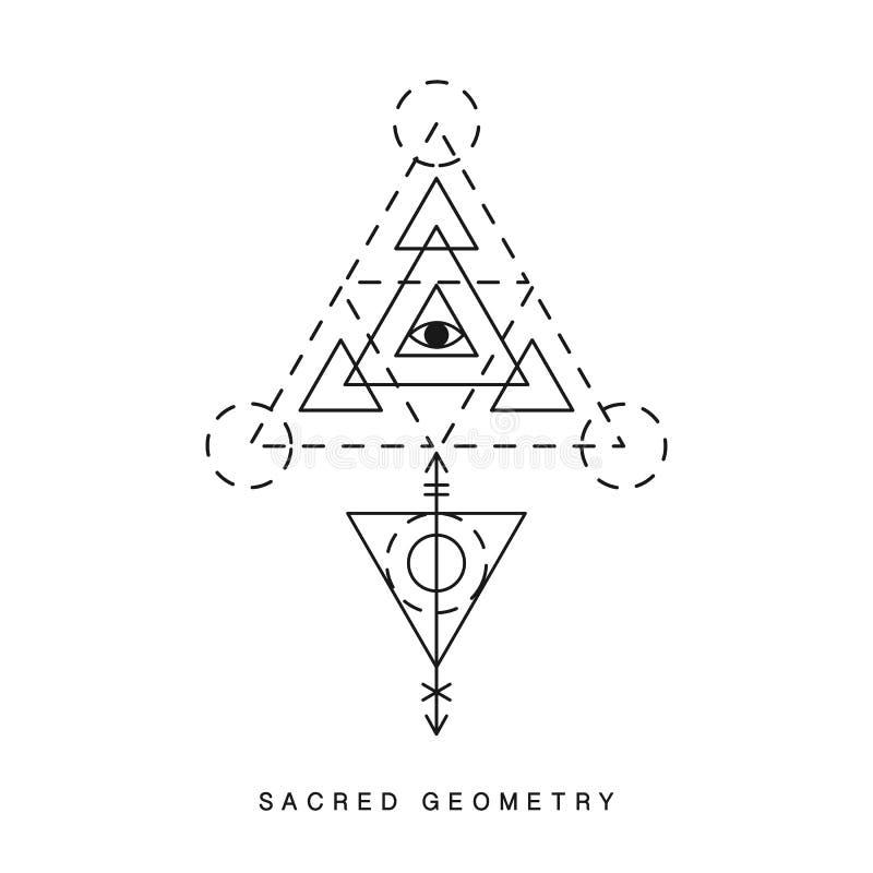Sinal sagrado da geometria, tatuagem ilustração royalty free