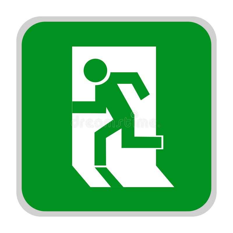Sinal seguro O ícone da saída Saída de emergência Ícone verde em um fundo branco Ilustração do vetor ilustração do vetor