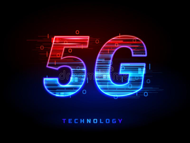 sinal sem fio da tecnologia da conexão da velocidade 5g ilustração do vetor