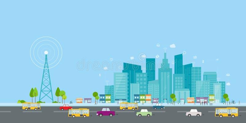Sinal sem fio do Internet na cidade do negócio Conexão a internet social na linha negócio ilustração stock