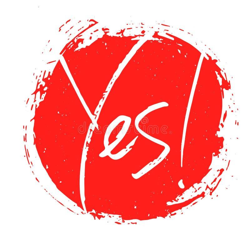 Sinal sim escrito à mão da palavra, bandeira, cópia inspirador, ilustração do vetor ilustração do vetor