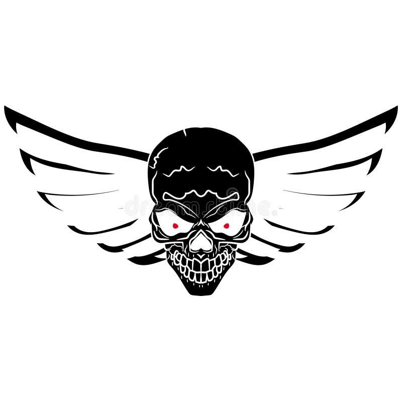 Sinal simbólico do motociclista - um crânio com asas Silhueta preta Gráficos de vetor Desenho da mão ilustração stock