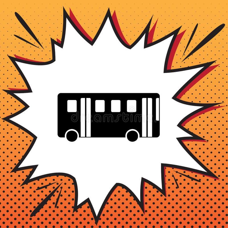 Sinal simples do ônibus Vetor Ícone do estilo da banda desenhada no fundo do pop art ilustração do vetor