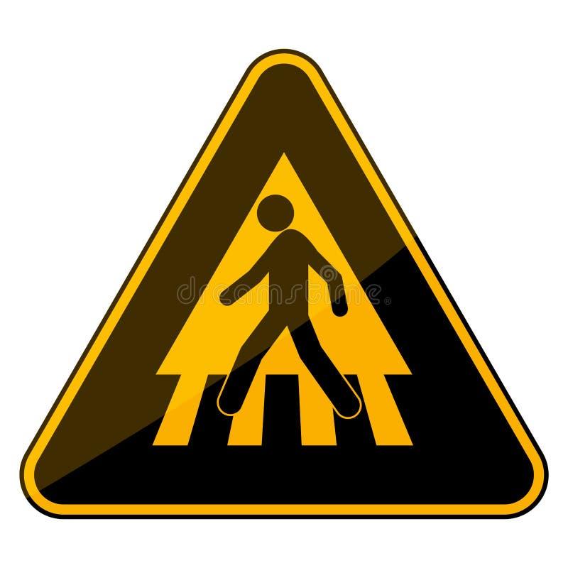 Sinal simples, liso, triangular da faixa de travessia Preto e amarelo Isolado no branco ilustração stock