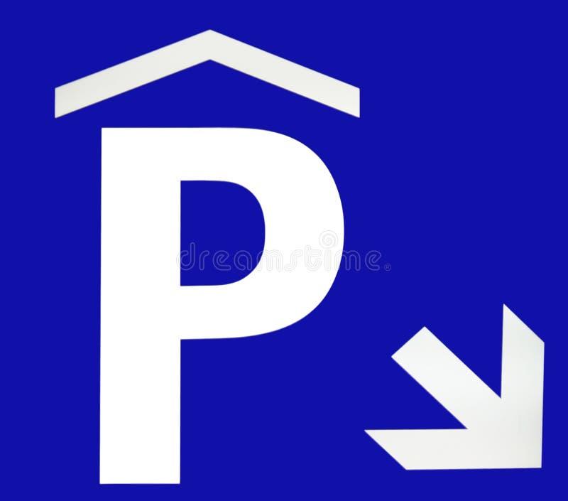 Sinal subterrâneo do estacionamento ilustração stock