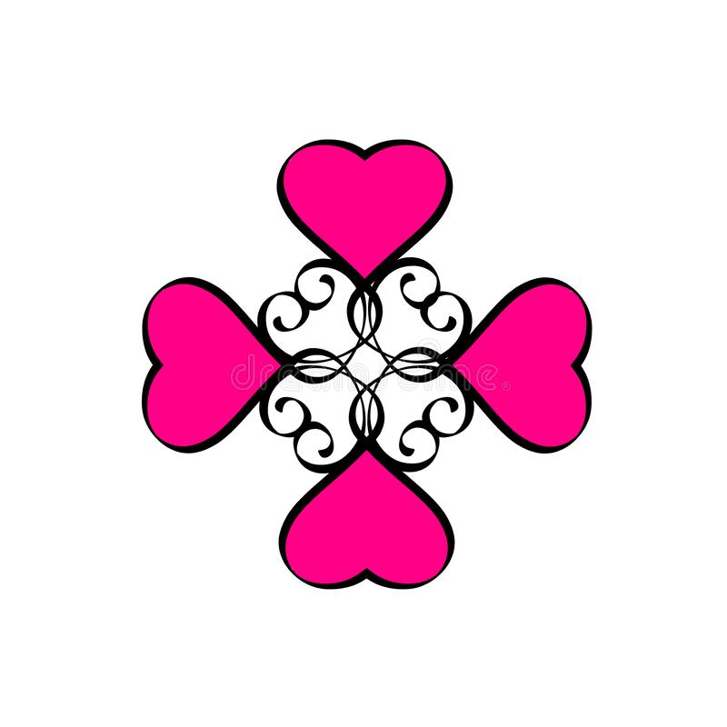 Sinal tirado do amor do coração mão cor-de-rosa preta Ilustração redonda da quadriculação da caligrafia do quadro dos corações ro ilustração royalty free
