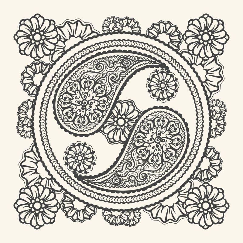 Sinal tirado mão de yin-Yang ilustração royalty free