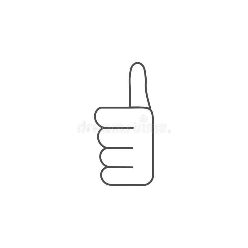 Sinal todo da mão perfeitamente ícone Apps do conceito e da Web dos elementos do sinal das mãos Linha fina ícone para o projeto d ilustração stock