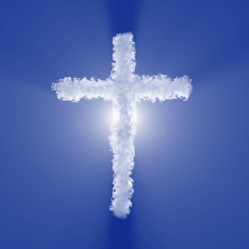 Sinal transversal cristão da nuvem com luz do volume no céu azul e no sol ilustra??o 3D ilustração do vetor