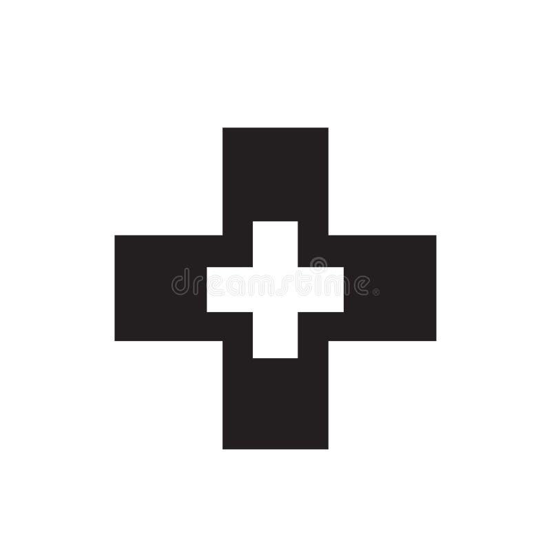 Sinal transversal e símbolo do vetor do ícone da farmácia isolados no fundo branco, conceito transversal do logotipo da farmácia ilustração royalty free
