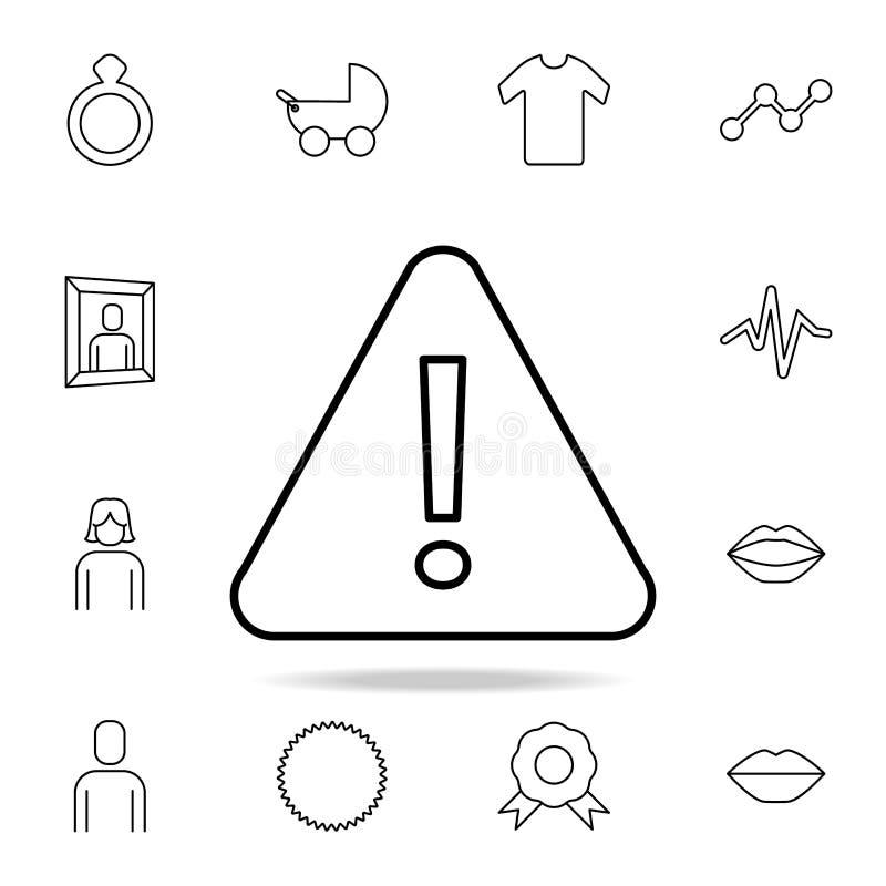 sinal triangular com ícone do ponto de exclamação Grupo detalhado de ícones simples Projeto gráfico superior Um dos ícones da col ilustração do vetor