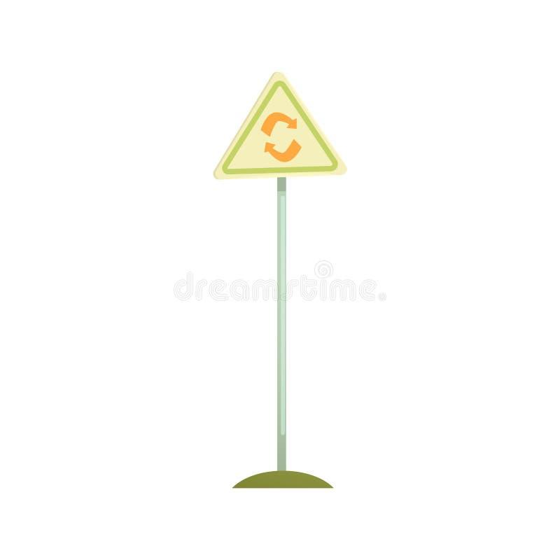 Sinal triangular com um símbolo da reciclagem, um processamento do desperdício e uma ilustração do vetor dos desenhos animados da ilustração do vetor