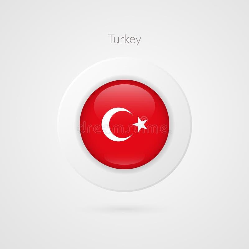 Sinal turco da bandeira do vetor Símbolo do círculo de Turquia Ícone da ilustração do país para o curso, Web, evento desportivo ilustração stock