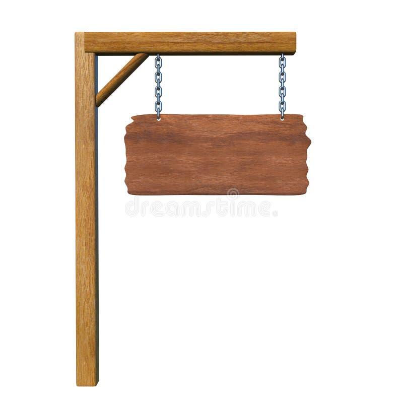Sinal vazio da placa de madeira isolado no branco e no espaço para o texto ilustração royalty free