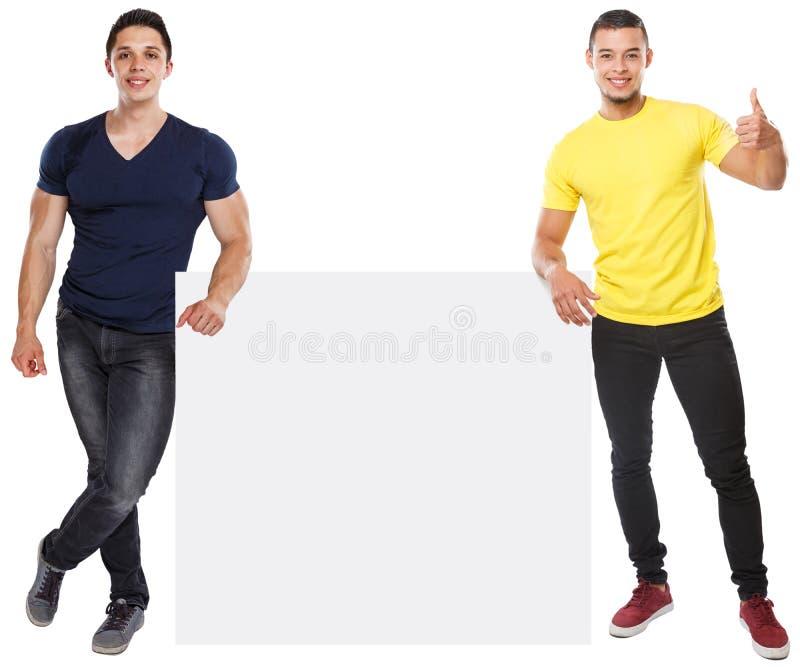 Sinal vazio vazio de mercado do anúncio do anúncio do copyspace bem sucedido do sucesso dos homens novos isolado no branco fotos de stock