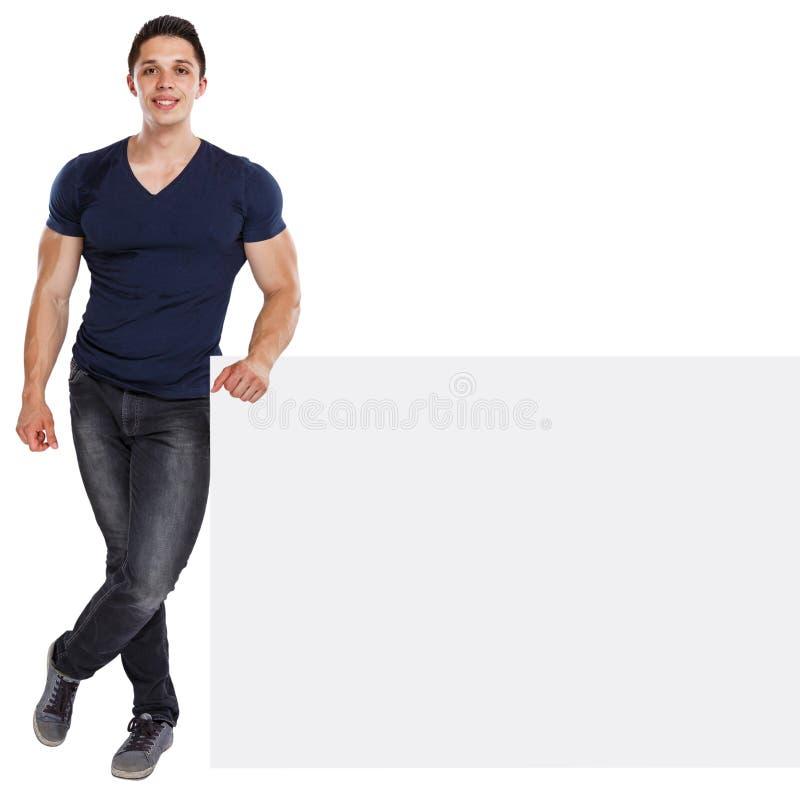 Sinal vazio vazio de mercado do anúncio do anúncio do copyspace muscular do homem novo isolado no branco foto de stock