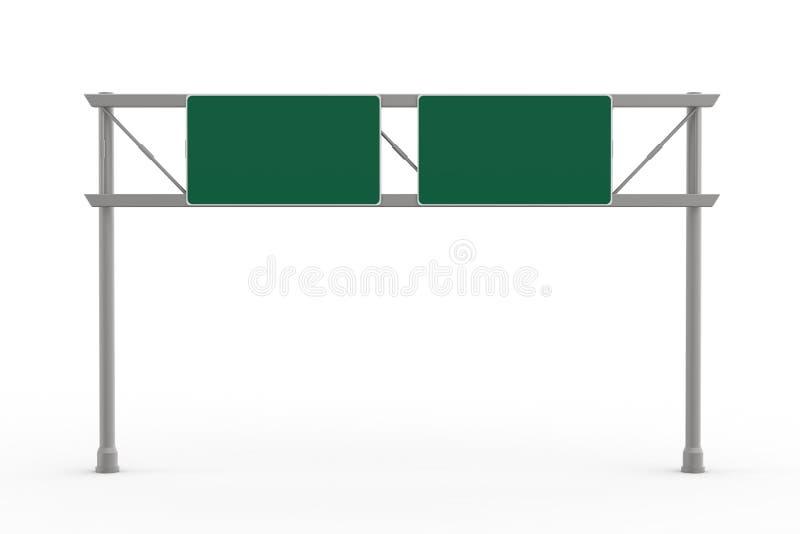 Sinal vazio verde da autoestrada ilustração stock