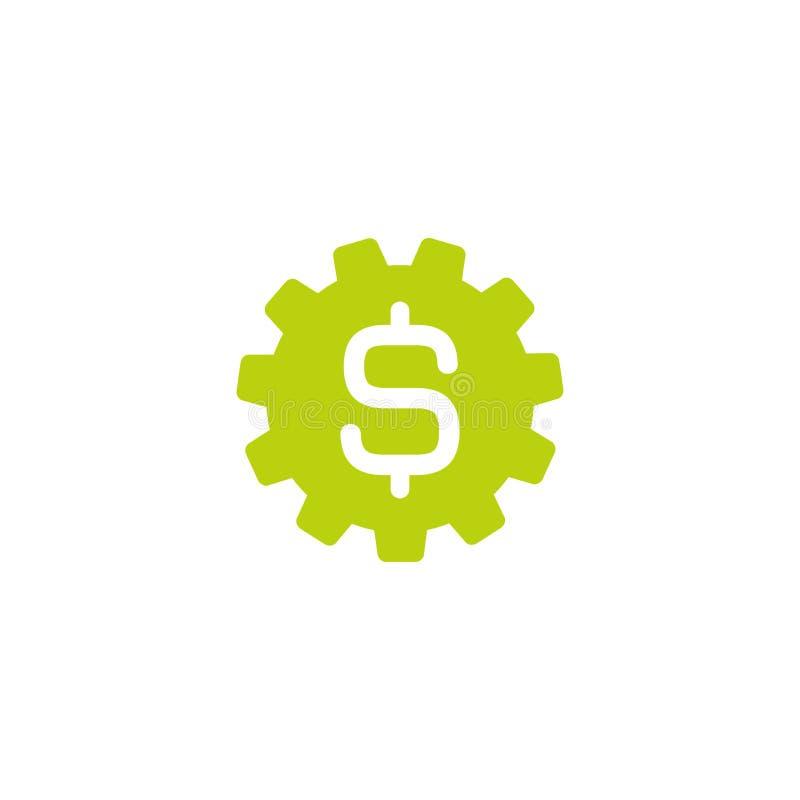 Sinal verde da engrenagem e de dólar Ícone liso Ilustração do vetor Ícone do custo de desenvolvimento Sinal financeiro da tecnolo ilustração royalty free