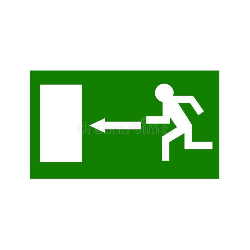 Sinal verde da saída de emergência ilustração stock