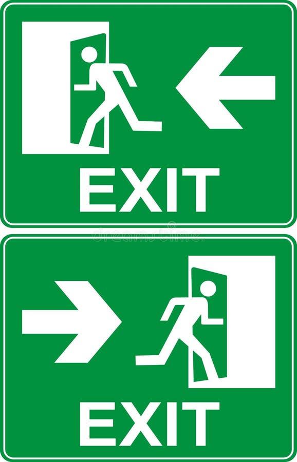 Sinal verde da saída de emergência ilustração royalty free