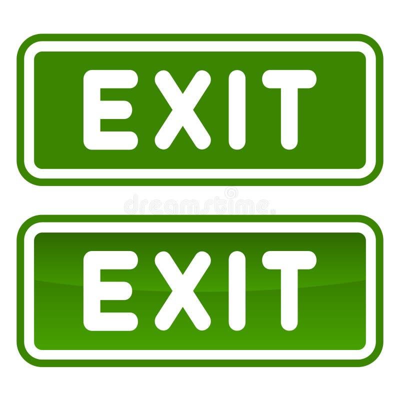 Sinal verde da saída de emergência ajustado no fundo branco Vetor ilustração do vetor