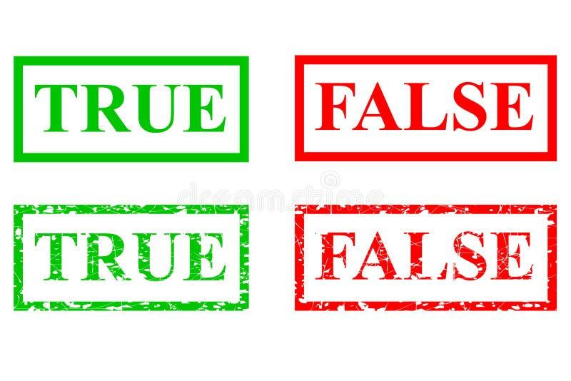 Sinal verde e vermelho do efeito do carimbo de borracha verdadeiro e falso ilustração royalty free
