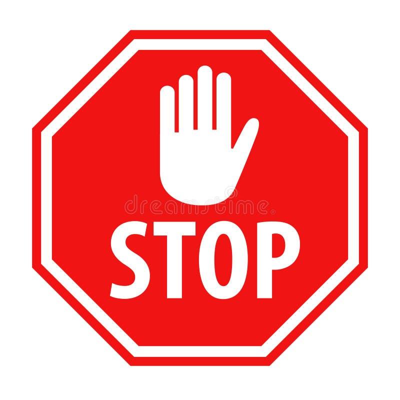 Sinal vermelho da parada com ilustração branca do vetor do ícone do símbolo da mão ilustração royalty free
